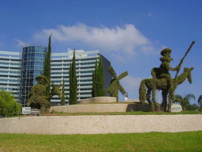 Green trees and flower beds in Petah Tikva