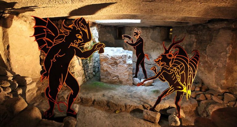 Installation of devils in Chillon Castle