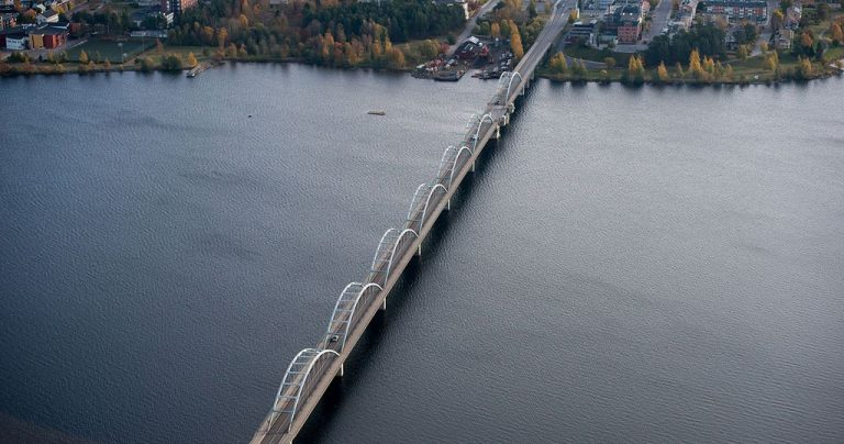 The city of Lulea is located at the mouth of the Lule Elv River