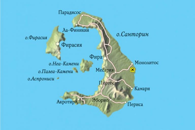 Map of Santorini Island
