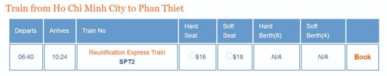 Schedule and cost of railway tickets Ho Chi Minh City