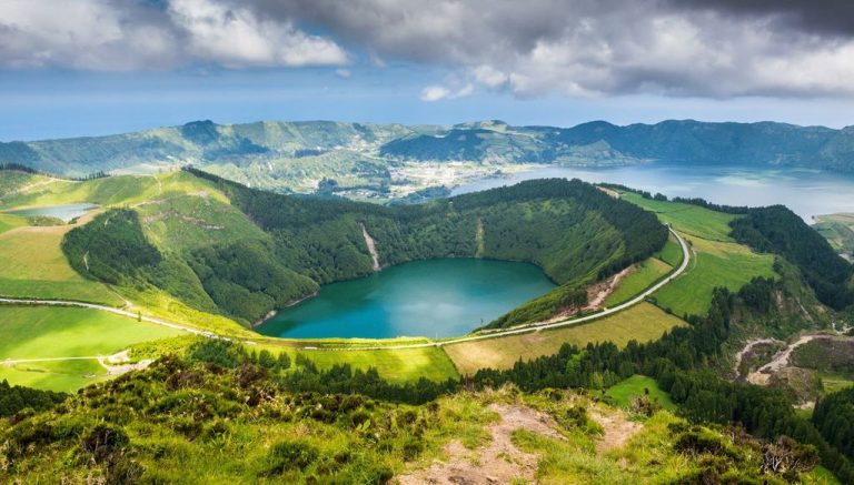 Lake in the crater of the volcano Sete Cidades