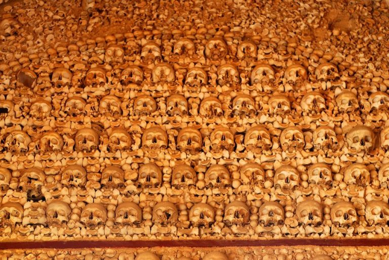 Photo: wall of skulls in Capella
