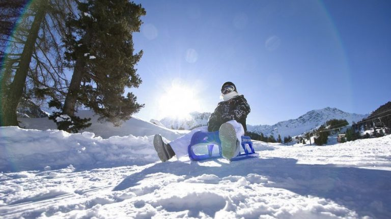 Sledding in the resort of Saalbach