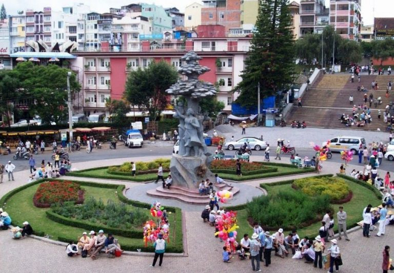 Area of ​​the city with flower beds