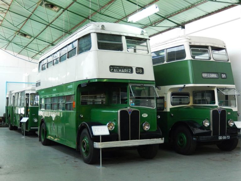 Old double-decker buses in the museum of transport