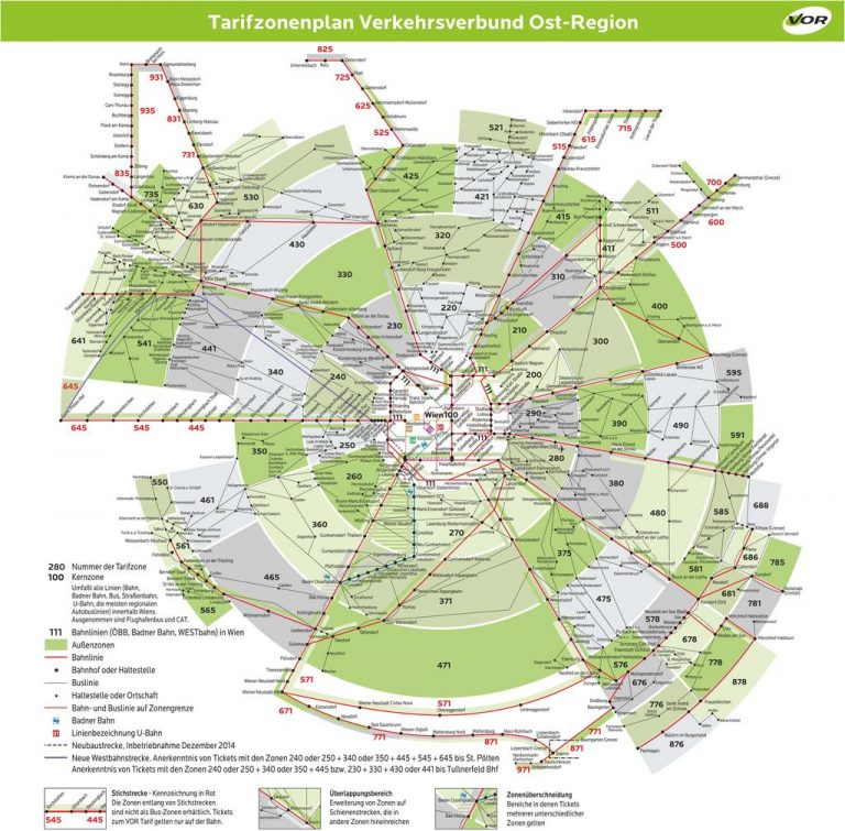 Vienna public transport tariff zones