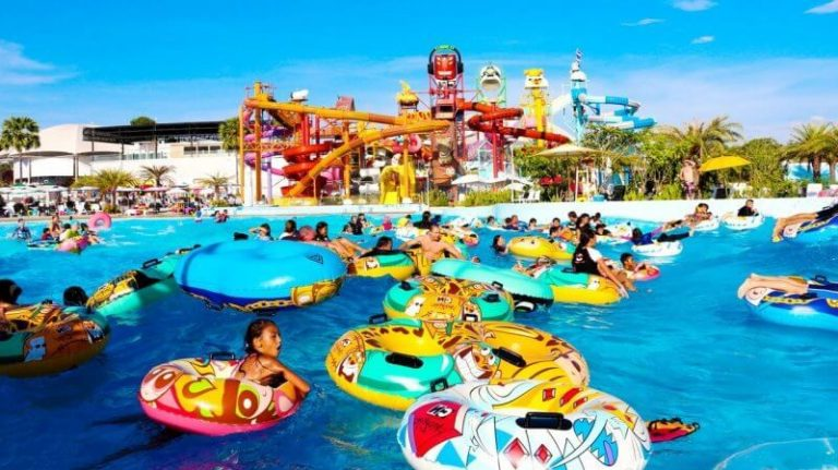 Wave pool at the water park