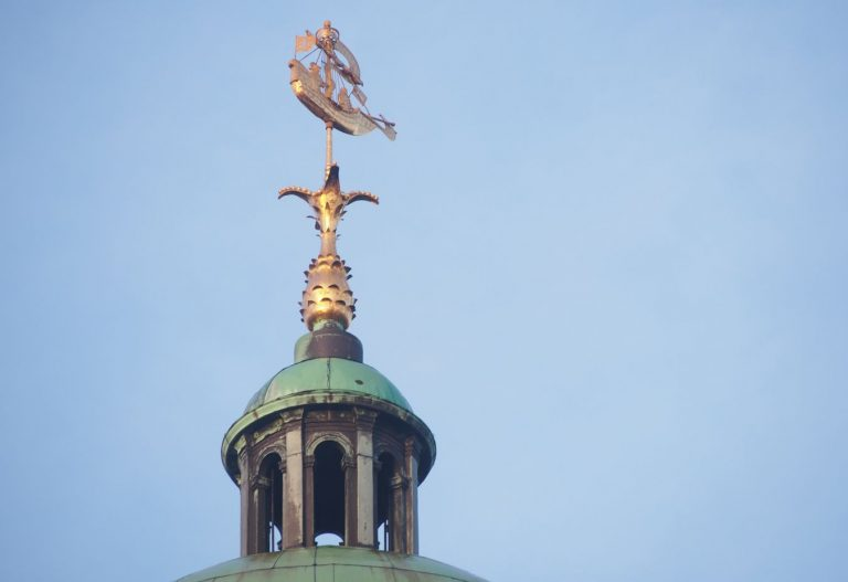 Dome with weather vane at the Royal Palace of Amsterdam