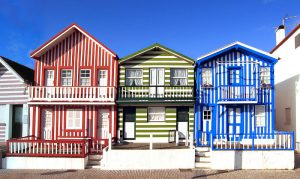 Colorful houses at the beachfront in Costa Nova in Portugal