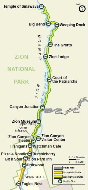 map of shuttle stops zion national park